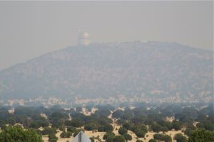 McDonald Observatory in the Ft. Davis fire smoke.