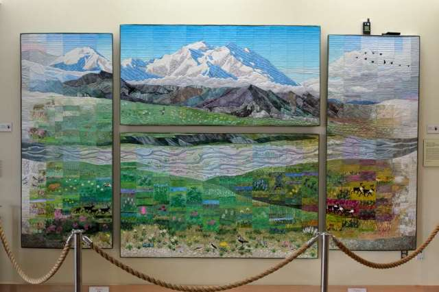 Quilted mural at Eilson Visitor Center