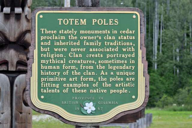 Sign about totem poles