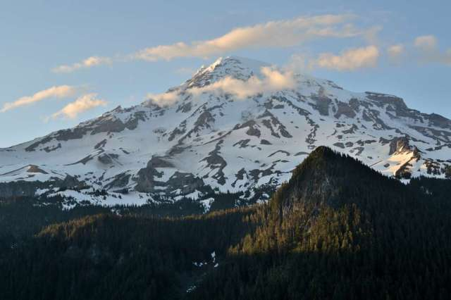 Mt. Rainier in Washington, late afternoon, view from the south.