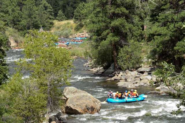 Rafting on the Poudre river in Colorado