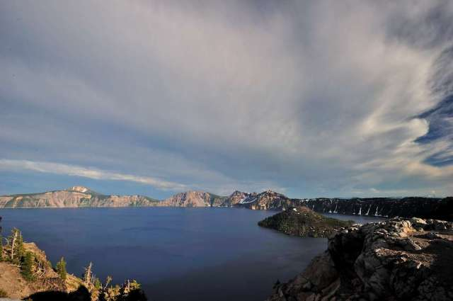 Crater Lake, Oregon on our second visit, more sun